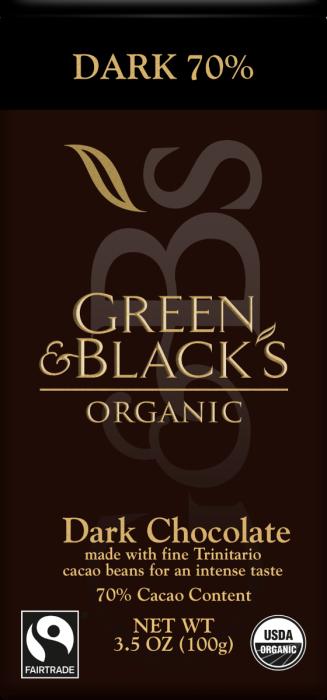 Green & Blacks Organic Dark Chocolate Bar, 70% Cacao